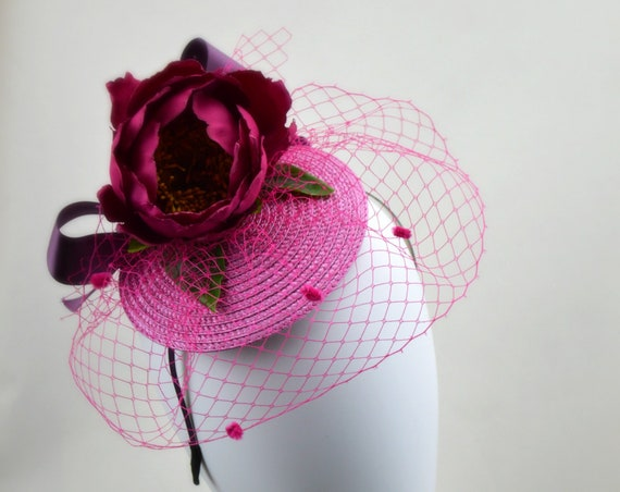 St TROPEZ FASCINATOR - RED Kentucky Derby Hat, Red flower Tea Party Hat, Red Garden Party headband, Black and Red Wedding Guest Fascinator