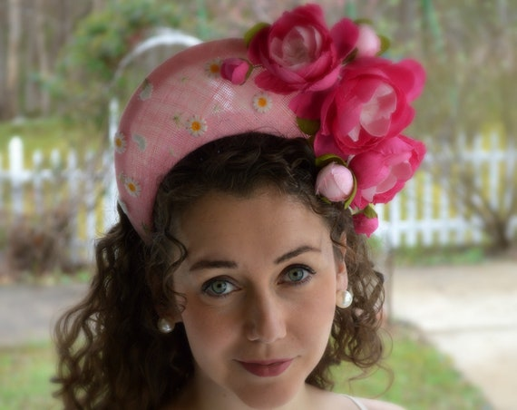 CONTESSA Pink Crown Style Fascinator with Pink Handmade Roses.  Light Pink Kentucky Derby Halo Hat, Crescent Moon Ascot Headpiece