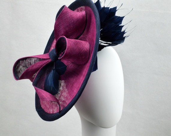 LONDON Orchid & Navy Kentucky Derby Hat | Purple Melbourne Cup or Ascot Headpiece | Famous Hat Luncheon Hat | Plum Mother of the Bride Hat