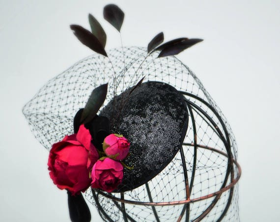 PARIS COCKTAIL HAT fascinator - Kentucky, Belmont or British Royal Ascot, Wedding guests and Opera evenings- handmade with care by Jaine