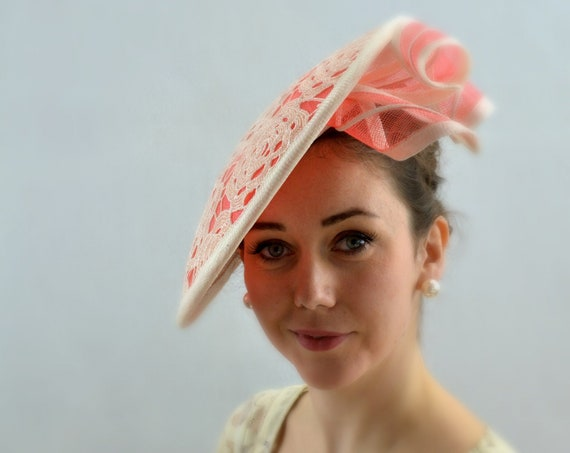 Ready to ship DRAMATIC Coral Melbourne Cup or Kentucky Derby Hat for women.  Kate Middleton style Wedding, Coral Famous Luncheon hat