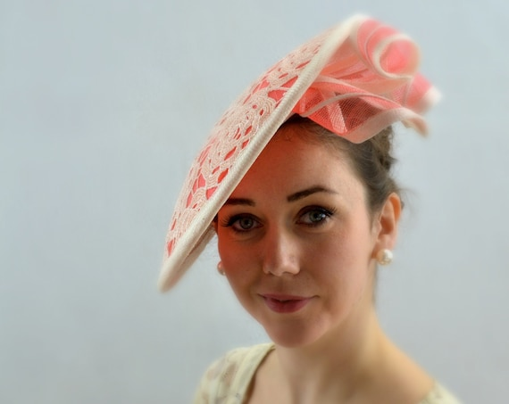 DRAMATIC Coral Melbourne Cup or Kentucky Derby Hat for women.  Kate Middleton style Wedding, Coral Famous Luncheon hat