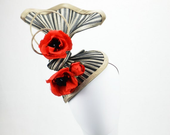 MET GALA Sculptural Black and Red Statement Headpiece. Famous Hat Luncheon Hat, Kentucky Derby Races, Melbourne Cup & Royal Ascot Fascinator