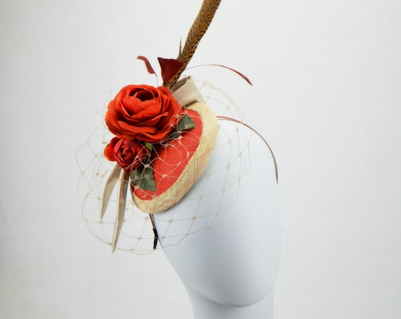SEVILLE  Fascinator | Orange Kentucky Derby races Hat | Wedding Guest Fascinate | Orange Church Hat | Kate Middleton Tea Party Headpiece