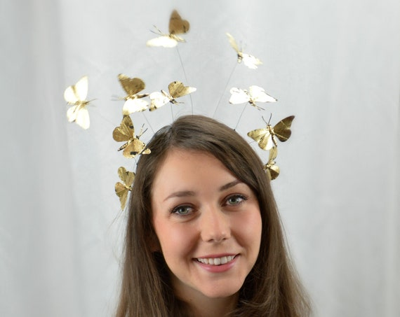 Butterfly Headband | gold butterfly hairband | masquerade ball headdress | party headband | costume butterfly |  MIDNIGHT GOLD LEAF