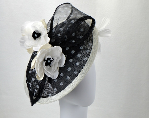 Black and White Spotted Kentucky Derby, Melbourne Cup or British Royal Ascot Hat.  New York Famous Hat Luncheon Hat. Tea Party Fascinator.