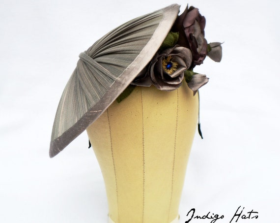 MILAN Haute Couture Mauve Gray silk Kentucky Derby Hat for women. Kate Middleton style Royal wedding fascinator, Church or NYC Tea Party Hat