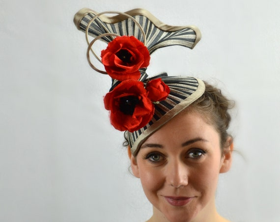 TRAPEZE Sculptural Black and Red Statement Headpiece. Famous Hat Luncheon Hat, Kentucky Derby Races, Melbourne Cup & Royal Ascot Fascinator