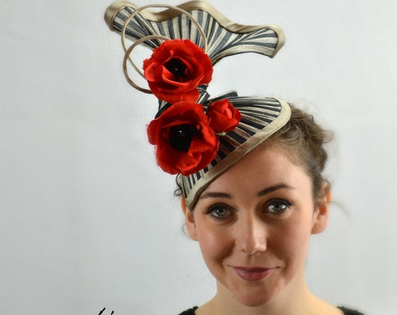 TRAPEZE - Sculptural Black and Red Statement Headpiece.