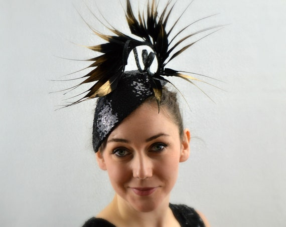 ABSTRACT Sculptural Black sequinned headpiece | Modern art hat for Galas | Black tie events | Cocktail Fascinator | Opera Fascinator |