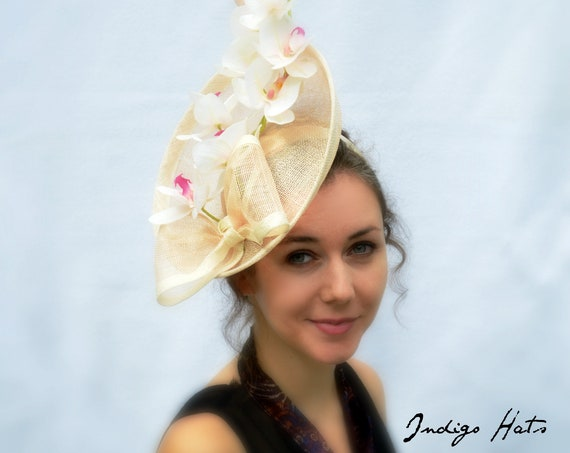 Pink Kentucky Derby or British Royal Ascot Percher Hat, Orchid Wedding guest hat, Garden or Tea Party Fascinator in Pink with cream trim
