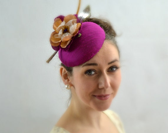 GILDED Dupioni Silk Orchid and Gold Fascinator. Kentucky Derby or Ascot Hat. Deep Fuscia Conservancy Luncheon Hat or Mother of the Bride Hat