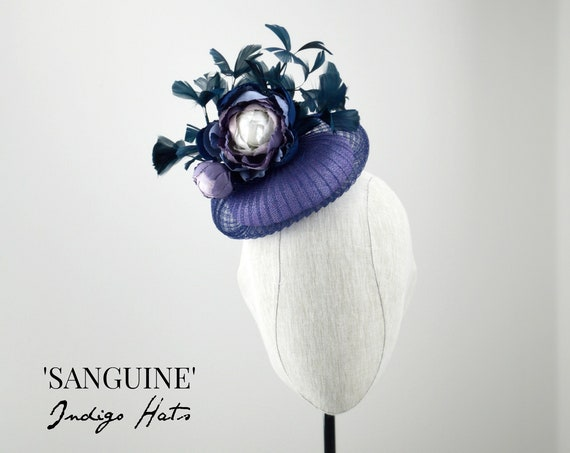 SANGUINE - Navy and Lavender Cocktail Hat