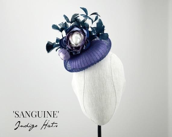 SANGUINE - Navy and Lavender Cocktail Hat