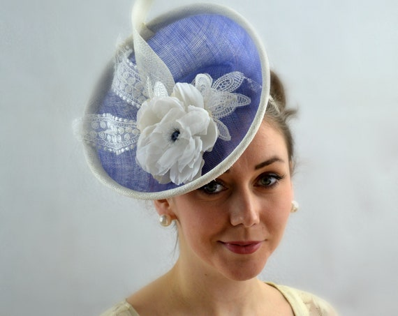 BRUGES Periwinkle Percher Fascinator |  Blue Ladies Kentucky Derby Hat | Famous Hat Conservancy Luncheon Hat |  Mother of the Bride Hat |