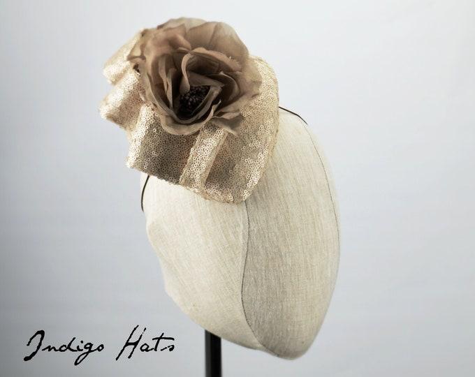 Champagne Grey Sequin Kentucky Derby Hat