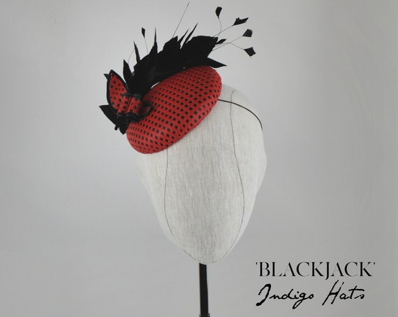 Red Leather Kentucky Derby Hat - Special Occasion Headpiece. Red and Black mother of the Bride Wedding. Party in the Park Fascinator.