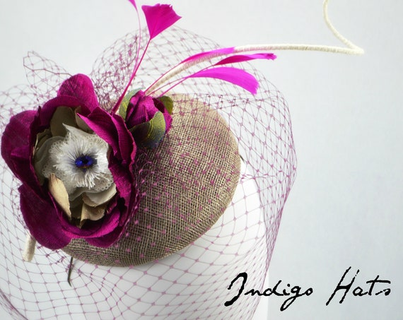 CHIC Fuscia and Gray - Mother of the Bride or Kentucky Derby hat.  Womens Pink and Grey famous hat luncheon or afternoon tea fascinator