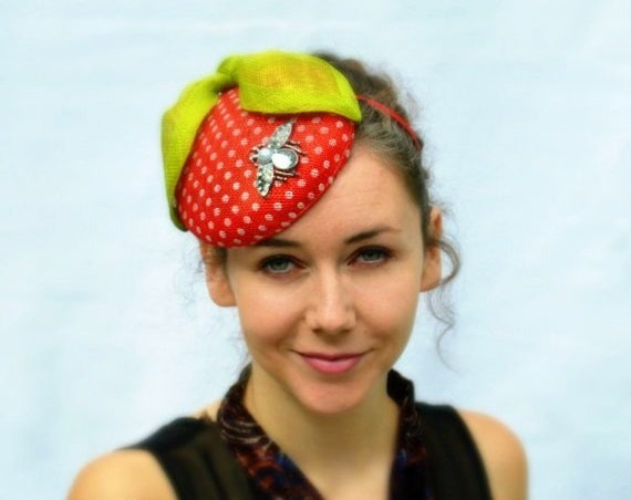 Ready to ship RED BERRY fascinator - Fun Strawberry Polka Dot hat on a headband with a vintage look and Pin-up girl style Handmade