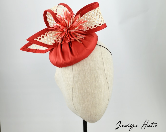 Coral Silk and Straw Fascinator