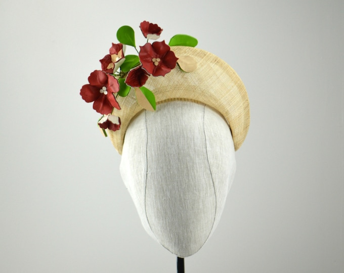 Red and Beige Crown Style Fascinator with Leather Flowers.  Red Kentucky Derby Halo.  Famous Hat Luncheon Hat.  Party in the Park Headpiece.