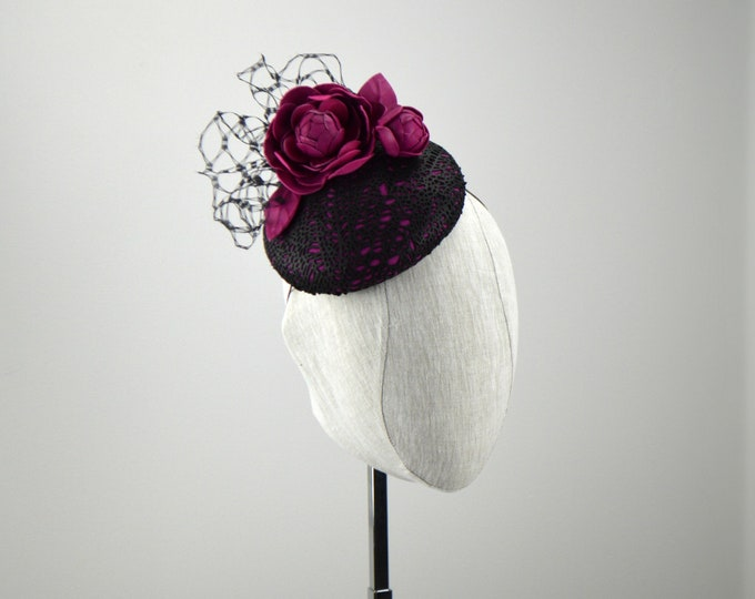 Hot Pink and Black Leather Kentucky Derby Hat