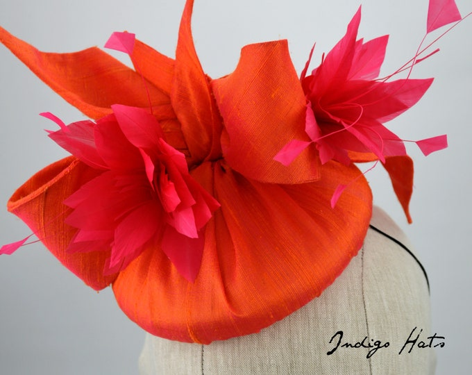 Lush Two Tone Orange and Pink Silk Cocktail Hat.