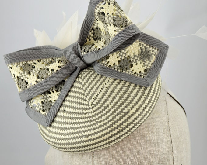 Gray striped Cocktail Hat