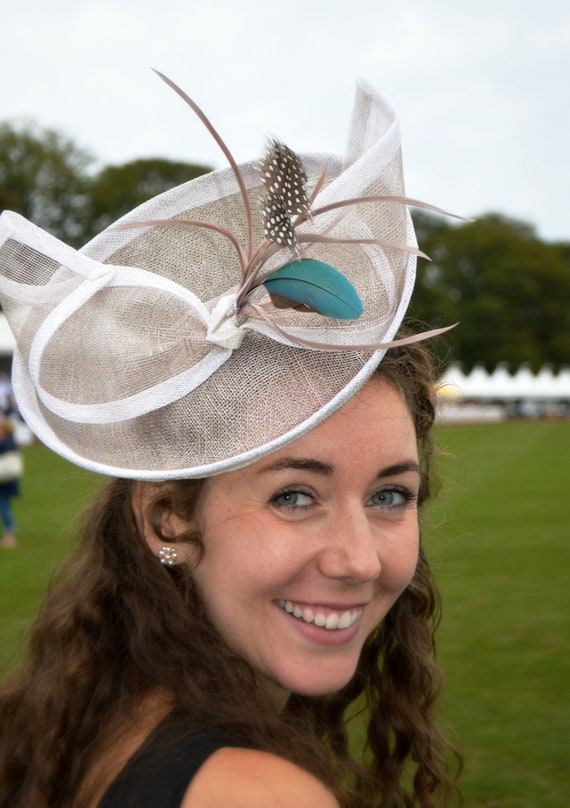 ASCOT - Gray Percher Fascinator hat in Kate Middleton Style for Weddings, Mother of the Bride, Garden Parties & Kentucky Derby - Indigo Hats