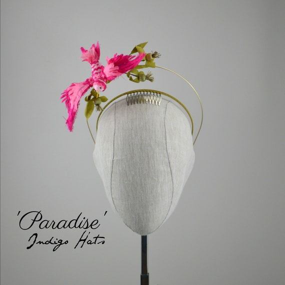 """Paradise' Pink Silk Bird Headband"