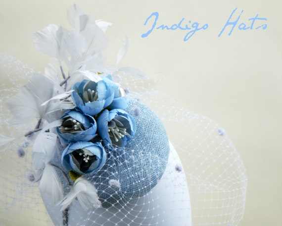 PROVENCE - GRAY BLUE Fascinator with handmade silk rosebuds, feathers & veiling. Customize in any Color, Wedding, Races or Tea Party Hat