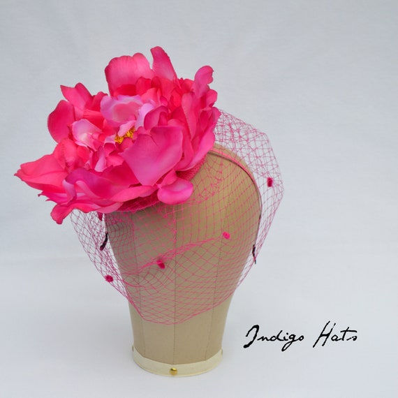WONDERLAND Big Pink Flower Fascinator with Veiling on a headband,  Large Bright Pink Kentucky Derby Flower Hat for mad hatter tea parties
