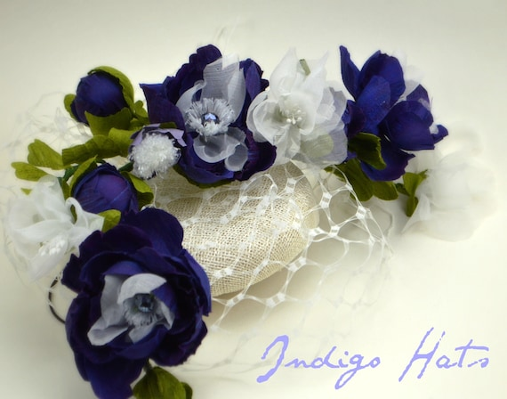Purple Fascinator with handmade silk flower bough & veiling. Kentucky Derby Hat, British Wedding style, Races or AfternoonTea Party Hat