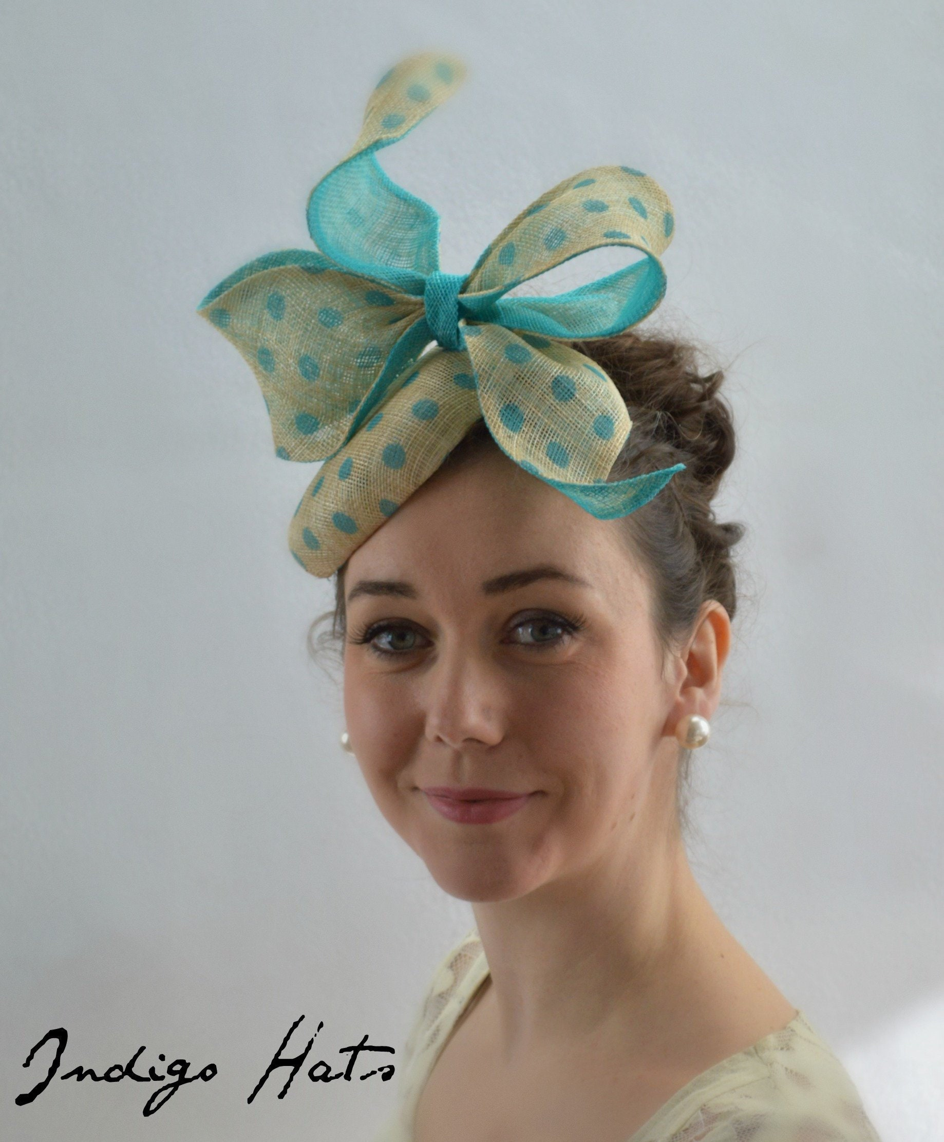 WHIMSY Aqua Kentucky Derby Fascinator. Turquoise famous hat luncheon or  Afternoon tea hat. Cyan Wedding or Bridal Shower Fascinator f3a397aba23