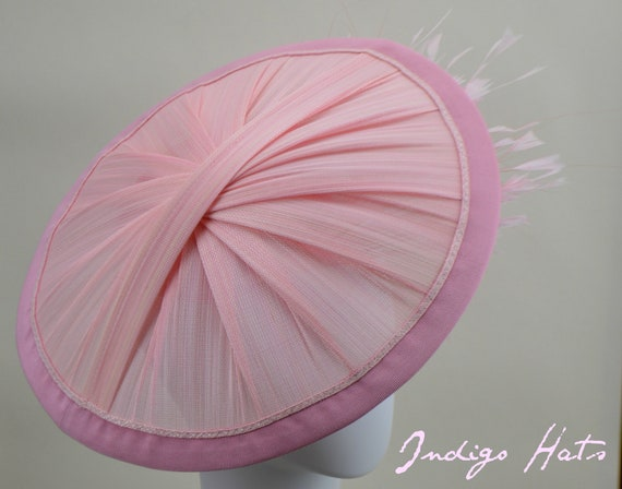 SUNSHINE - Pink Kentucky Derby Hat for women, Soft Pink Royal Ascot Saucer Fascinator, Light Pink Mother of the Bride Hat with feathers