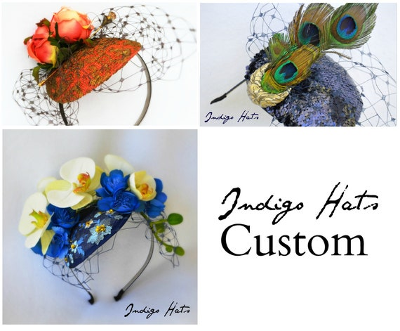 CUSTOM fascinator hat, a unique artisan piece designed & created to compliment your raceday, wedding or church outfit - handmade by Jaine.