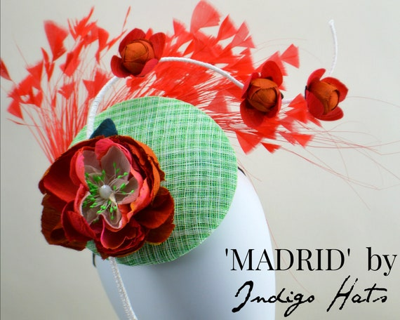 MADRID - Orange and Green Fascinator