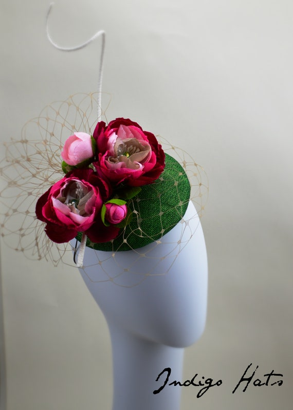 Customize Pink & Green Fascinator - Mother of the Bride or Kentucky Derby hat.  Womens famous hat luncheon or afternoon tea fascinator