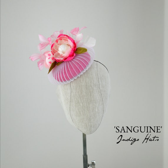 SANGUINE - Pink and White Cocktail Hat