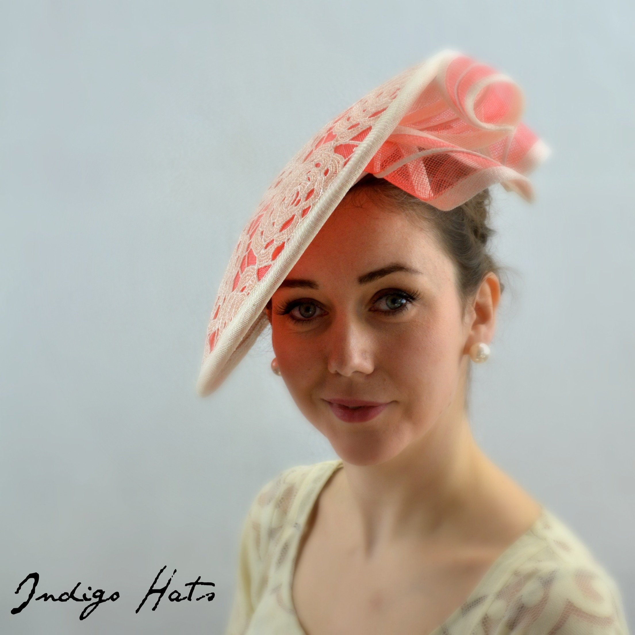 DRAMATIC Coral Melbourne Cup or Kentucky Derby Hat for women. Kate  Middleton style Wedding 31d8c0a5fdb