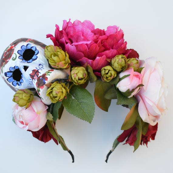 Glorious CINCO DE MAYO Headpiece with handpainted paper mache skull and faux blooming roses, handmade by Jaine
