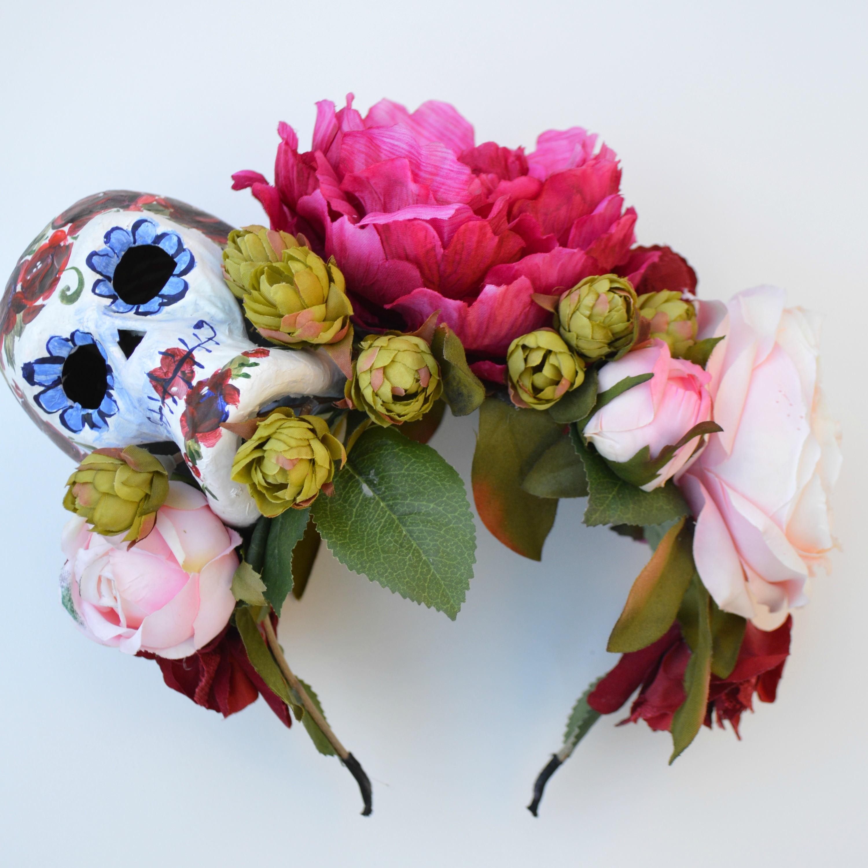Glorious Cinco De Mayo Headpiece With Handpainted Paper Mache Skull