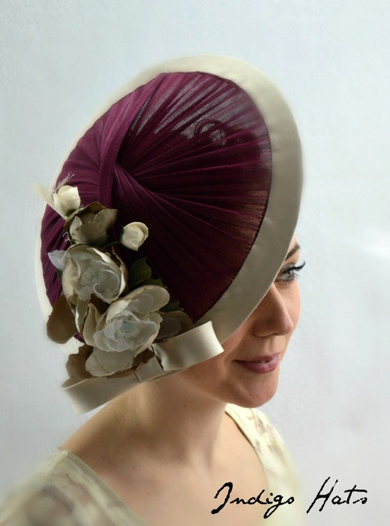 Ready to ship: MILAN - Burgundy Jinsin and silk Kentucky Derby Hat for women. Plum New York Famous Hat Luncheon. Plum Royal Ascot Fascinator