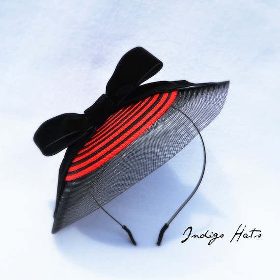 MONACO FASCINATOR - RED and Black Kentucky Derby Hat.  Stylish Tea Party, Garden Party, Wedding Guest, Red Hat Society or Church Hat