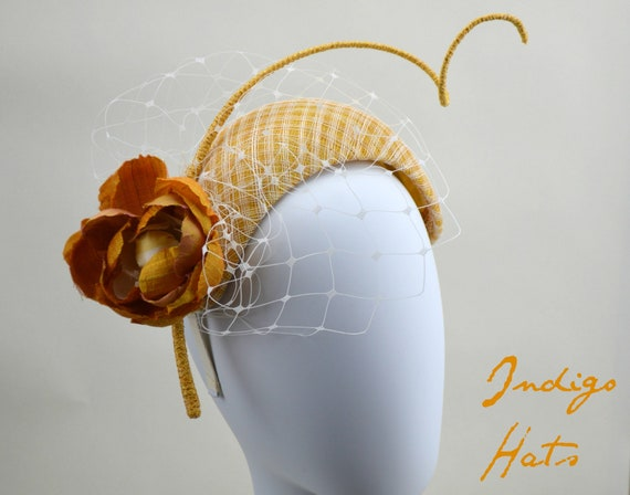 BRIGHTON - Bandeau fascinator - Yellow Gold Kentucky Derby crown hat, Amber Crescent Moon Ascot Headpiece, Customize British Wedding Style