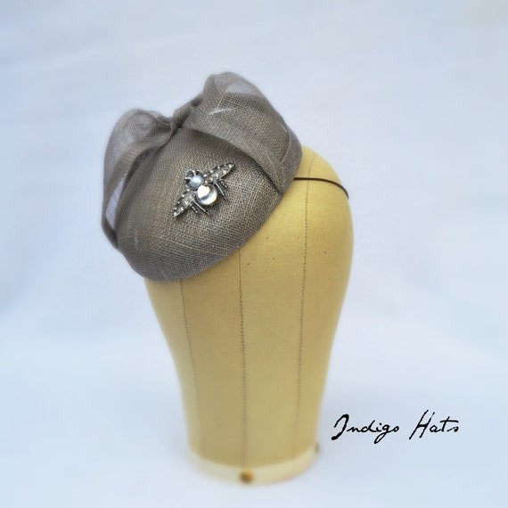 Gray fascinator with a sophisticated Meghan Markle look for the Kentucky Derby weddings and tea parties - Handmade by Indigo Hats