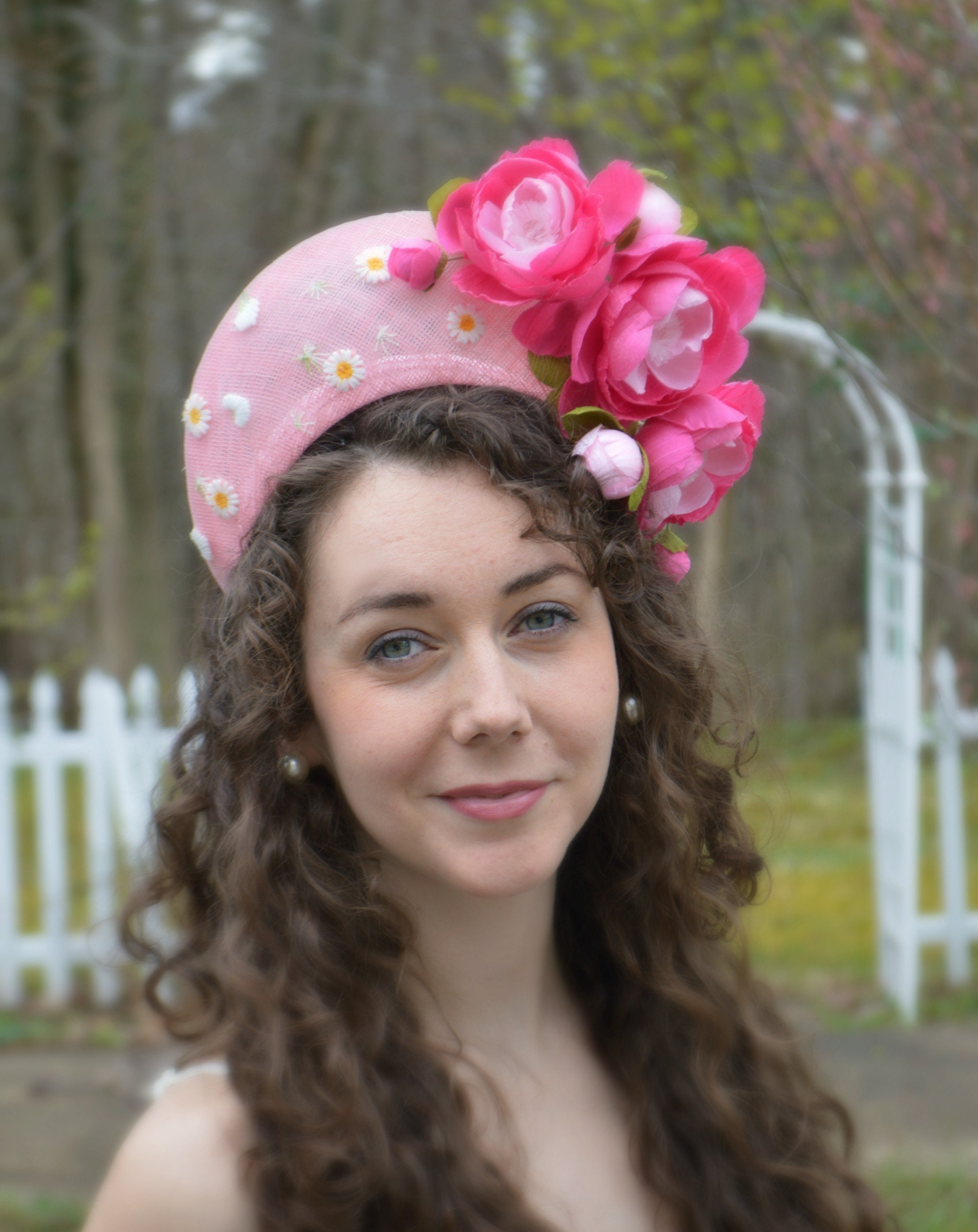 ce268b9eef596 Ready to ship CONTESSA Pink Crown Style Fascinator Pink Handmade Roses. Light  Pink Kentucky Derby Halo Hat