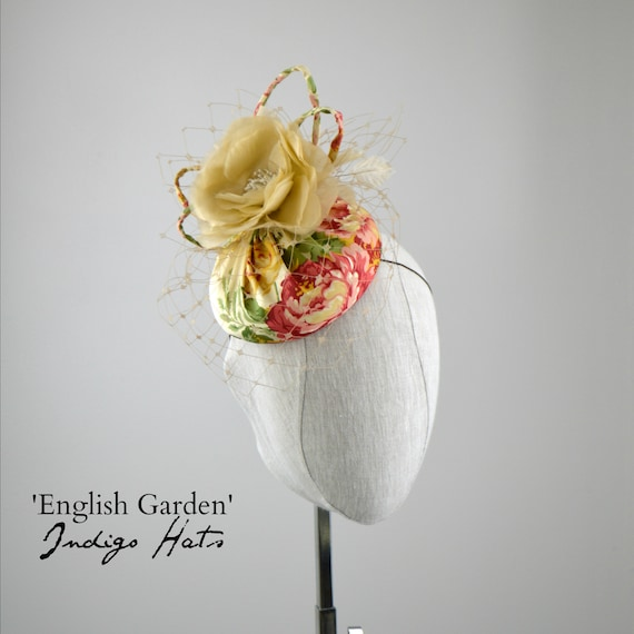 'English Garden' - Floral Cream and Pink Silk
