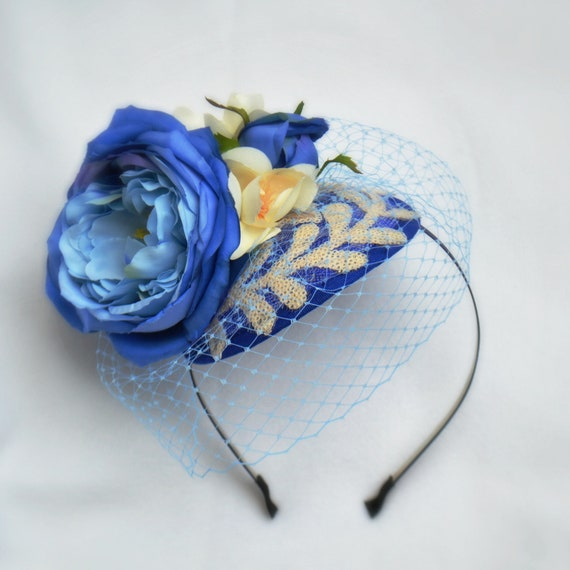 BLUE SKIES FASCINATOR | Hat for Weddings | Garden Party Fascinator | Kentucky Derby Fascinator | Saratoga Del Mar British Ascot Races Hat |