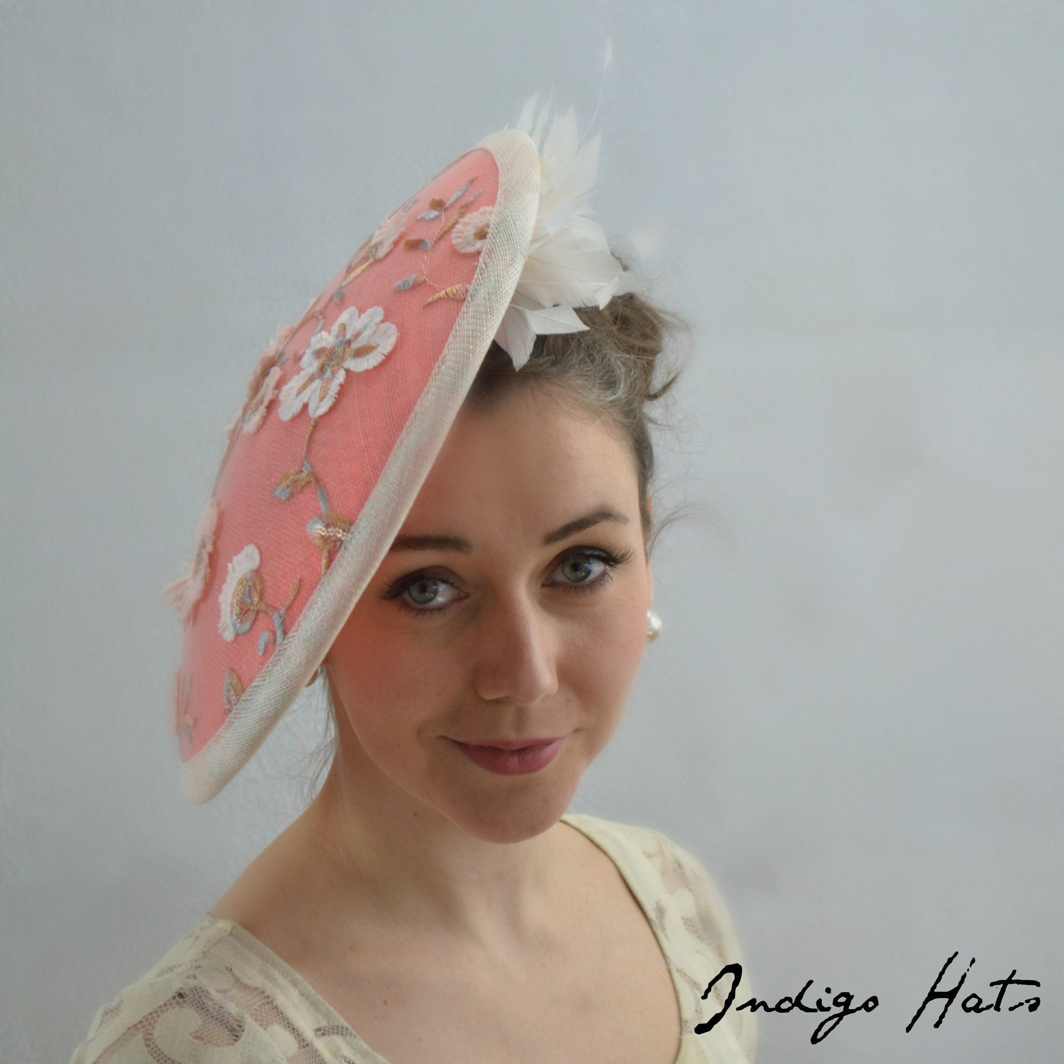 694318c5 PEACHES & CREAM, Coral Melbourne Cup or Kentucky Derby Hat for women.  Mother of the Bride, NYC Conservancy Luncheon or Church fascinator.